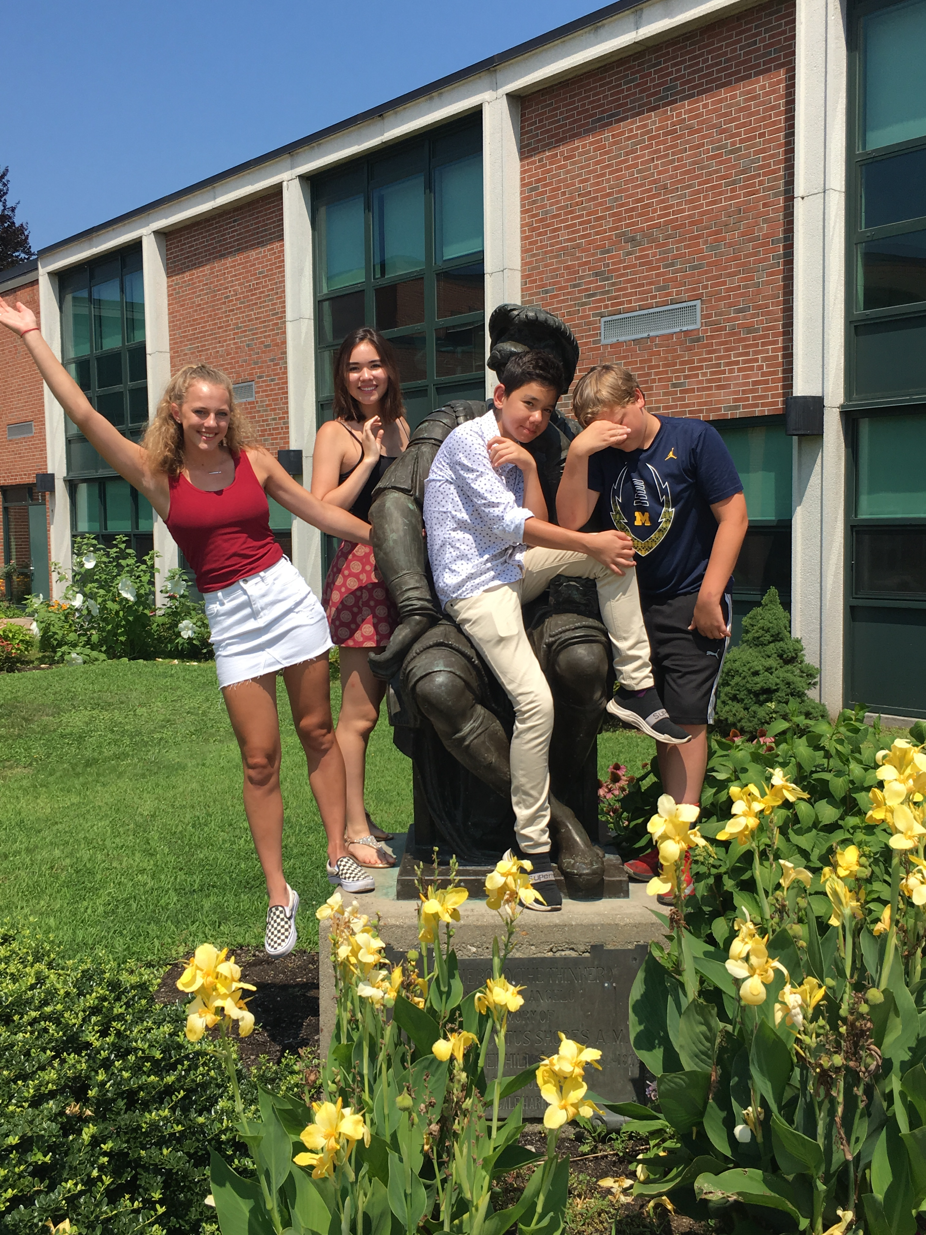 Haverhill High statue with kids.JPG
