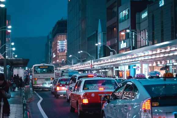 traffic jam during nightime