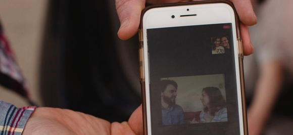 Turner Wedding on phone